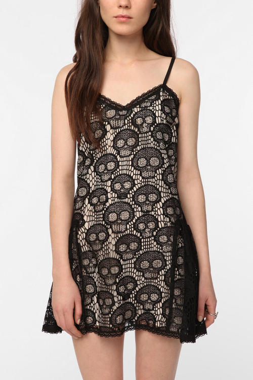 Rocker skull slip dress, by Betsey Johnson Pink Label $118 at Urban Outfitters