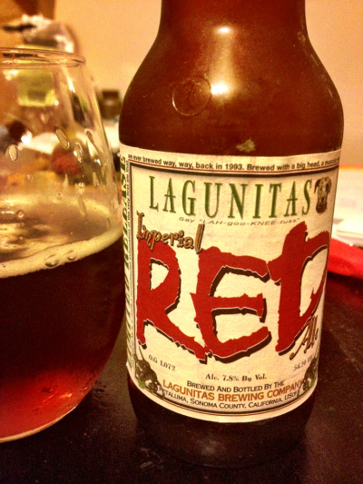 Imperial Red Ale, Lagunitas Brewing Company, Petaluma, CA, 7.8% abv. Full bodied and red, like Christina Hendricks in a glass.