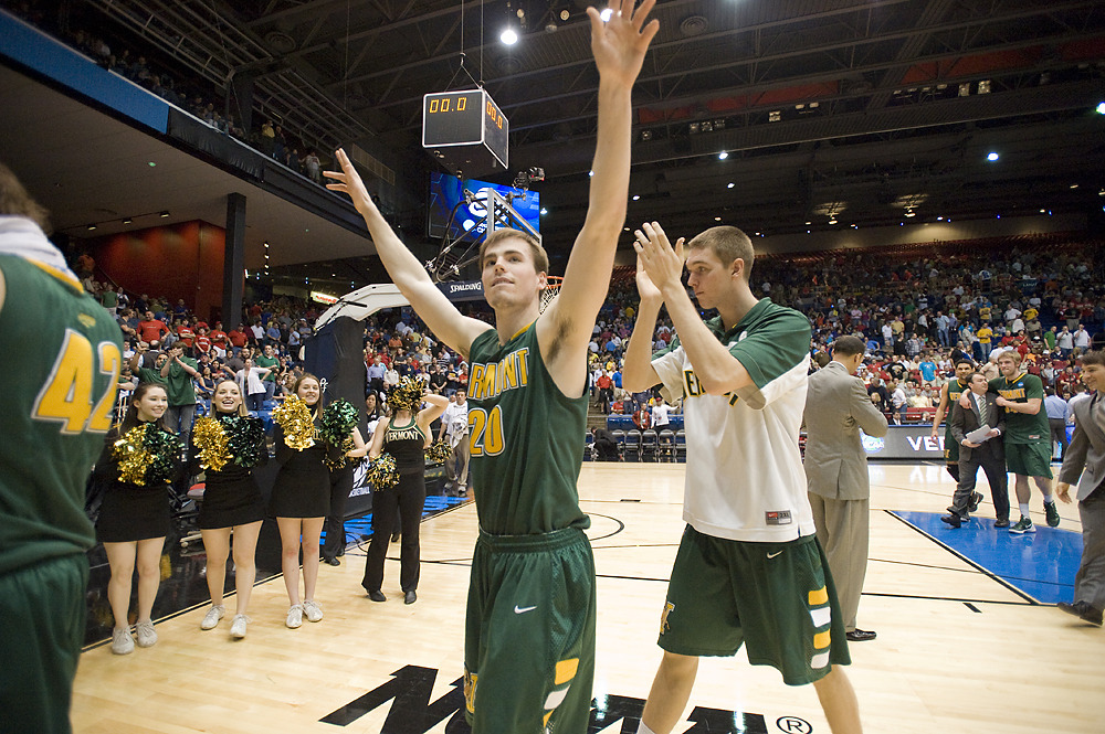 UVM's Brendan Bald waves to fans after the University of Vermont beat Lamar in their first NCAA tournament game Wednesday night, March 14, 2012, at the Dayton University arena in Dayton, Ohio. http://bfpne.ws/yiJI2w (Photo by RYAN MERCER, Free Press)