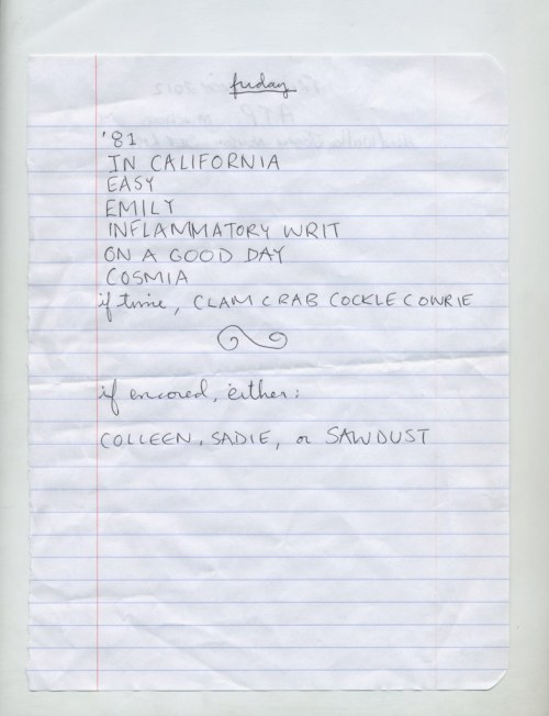 lissome-light:  talisman:  Joanna's handwritten setlist  This is PERFECT.