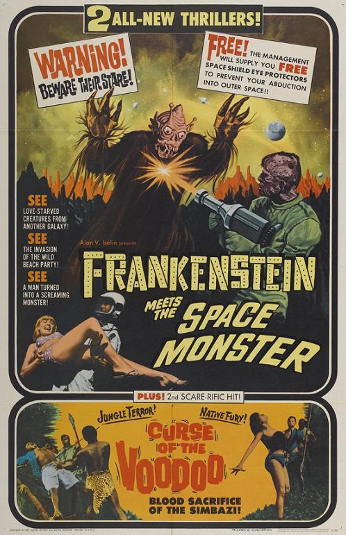 thegirlcantdance:  Frankenstein Meets the Space Monster (Robert Gaffney, 1965) ~PLUS!~ Curse of the Voodoo (aka Voodoo Blood Death; Lindsay Shonteff, 1965). The former stars future Pathmark spokesmodel James Karen; the latter stars Bryant Haliday, co-founder of both Janus Films and the Brattle Theatre in Cambridge, Massachusetts