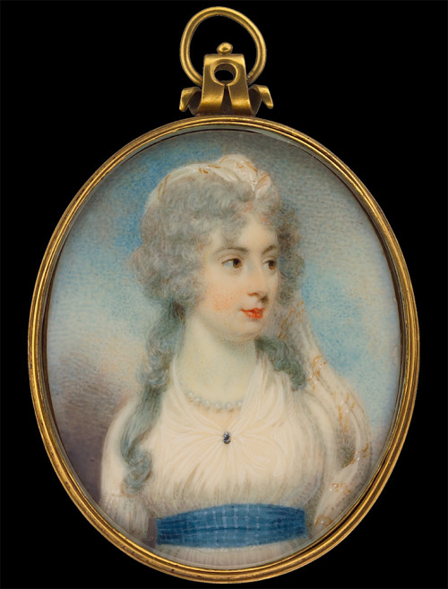 Lady in White Gown with Blue Sash by William Wood, 1798