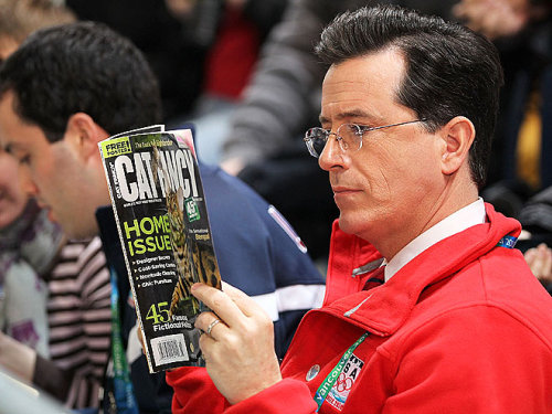 badtvblog:  Stephen Colbert reading Cat Fancy at the Olympics