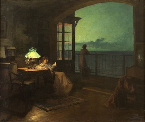 Marcel Rieder ~ Two women on veranda overlooking the sea