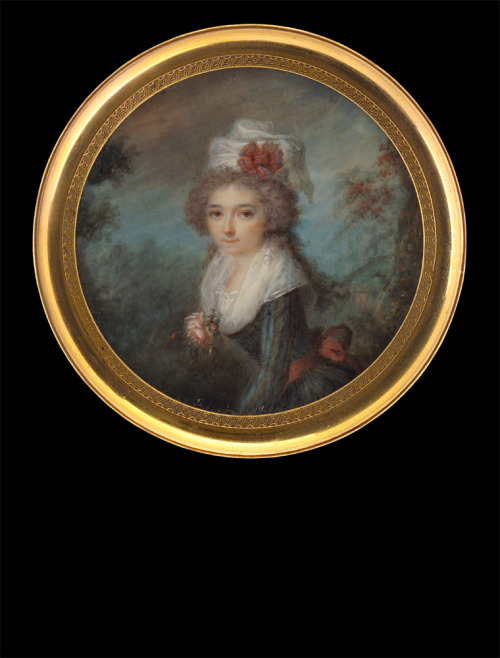 Lady in gown with black-blue stripes by Joseph Tassy, 1791
