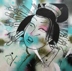 GEISHA | ACRYLIC , AEROSOL ON CANVAS WITH GLOSS SPRAY | 86cm x 86cm
