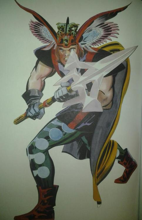 Another great Kirby piece! A proposed idea for a Thor remake that never was…sometimes Marvel sucks in their decision. Just saying. :/
