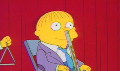 and with a flute up his nose; Ralph Wiggum