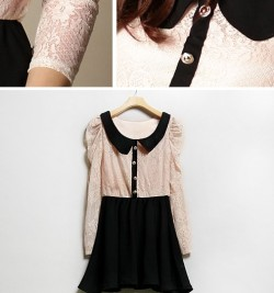 Pink and Black Lace Babydoll DressSize: FreeLength - 75cmBust - 80cmShoulder - 32cmSleeve - 60cm$40