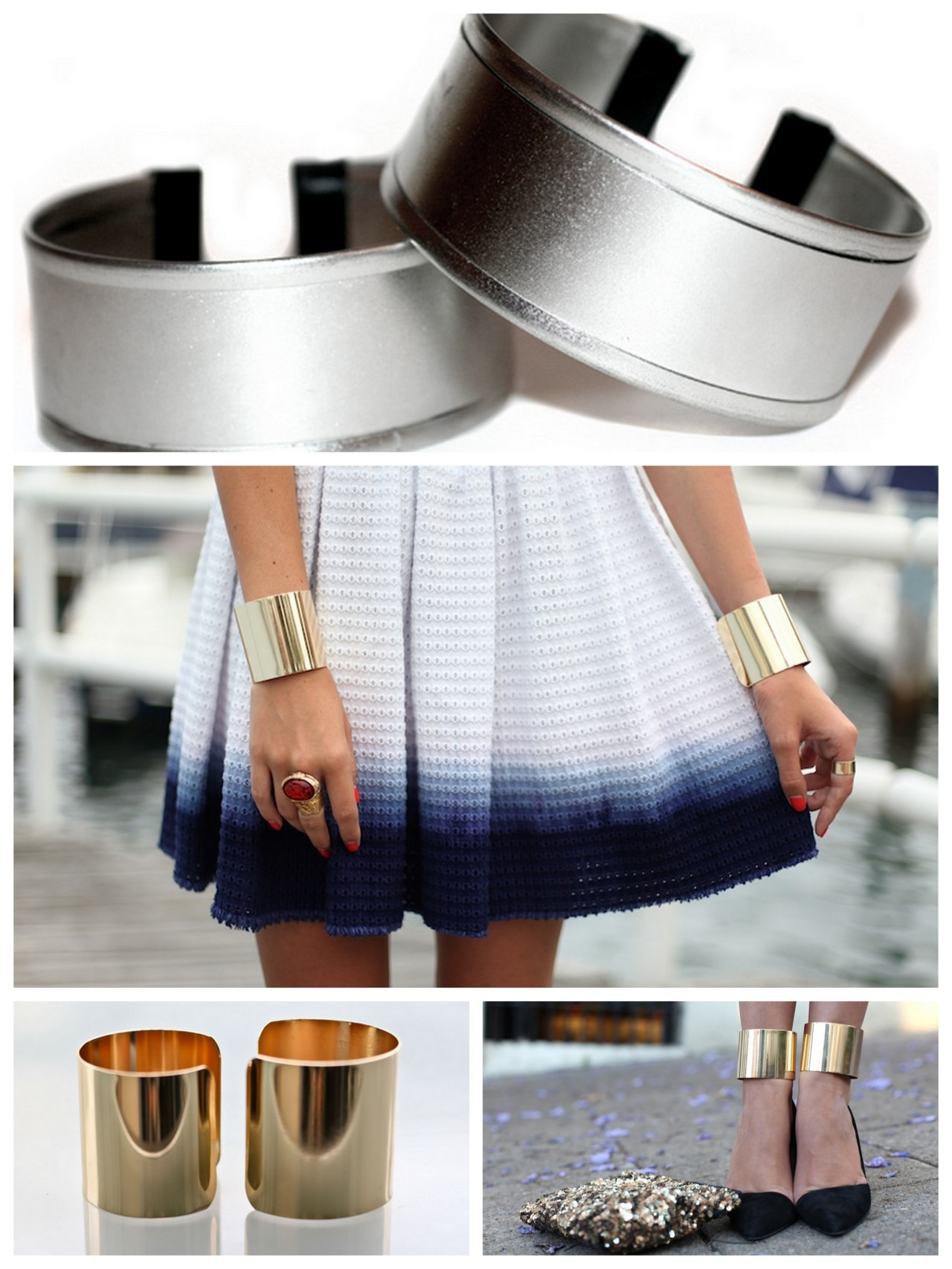 truebluemeandyou:  truebluemeandyou: DIY Double Wrist or Ankle Cuffs from Cookie Cutters. Reblogging with new links to ASOS cuffs (sold out in lots of countries but not the US): ASOS $24.86 Rose Gold Double Cuffs here, ASOS $24.86 Gold Double Cuffs here, and ASOS $24.86 Silver Double Cuffs here.  DIY Double Wrist or Ankle Cuffs from Cookie Cutters. Top Photo: DIY Really clever tutorial from I Spy DIY here. *I think the gold cuffs from ASOS for $24.86 (for 2) that can be worn on wrists or ankles are a good deal here. Photo Credits. TOP: DIY, MIDDLE: The Manor here wearing ASOS Gold Cuffs, Bottom LEFT: ASOS Gold Cuffs here,  Bottom RIGHT: tuula wearing ASOS Gold cuffs on her ankles here. ASOS 2 pack Gold Cuffs available for $28 here that can be worn on wrists or ankles.