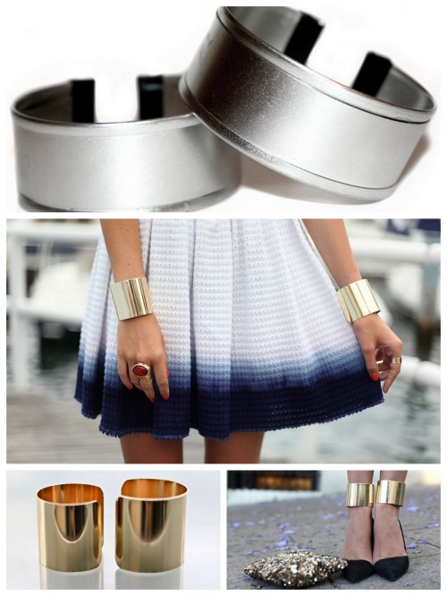 DIY Double Wrist or Ankle Cuffs from Cookie Cutters. Top Photo: DIY Really clever tutorial from I Spy DIY here. *I think the gold cuffs from ASOS for $28 (for 2) that can be worn on wrists or ankles are a good deal here. Photo Credits. TOP: DIY, MIDDLE: The Manor here wearing ASOS Gold Cuffs, Bottom LEFT: ASOS Gold Cuffs here,  Bottom RIGHT: tuula wearing ASOS Gold cuffs on her ankles here. ASOS 2 pack Gold Cuffs available for $28 here that can be worn on wrists or ankles.