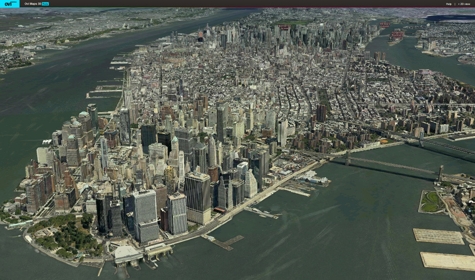 Jaw-dropping online 3D Map     Any sufficiently advanced technology is indistinguishable from magic.   Paul Debevec published his seminal work on image based modelling in 1997, just over 14 years ago. By taking multiple images of an object from different angles, he was able to reconstruct the 3D geometry of the bell tower at  UC Berkeley.  Programmatically generating 3D models from 2D images!  It was so revolutionary at the time that the sfx team behind the Matrix movie worked with Paul to use this exact technique in the film, the Matrix.  Pretty impressive eh?  Now imagine going this for an entire campus, or an entire city, or the entire world.  Without human intervention. At 10cm resolution.  This is what C3 Technology and Nokia came up with, and it runs inside your web browser.  A better writer might be able to describe to you the magnitude of what you are witnessing, but I am truly at a loss at conveying the significance of this to the future of mapping.  Click on the image to see the demo for yourself.  You'll need to install a plugin, but it's well worth the trouble.  Someone less technically might not fully appreciate the complexity of what's going on behind the scene, and as someone who only knows enough to be dangerous, I am still not convinced technology like this should exist today.  Wow.