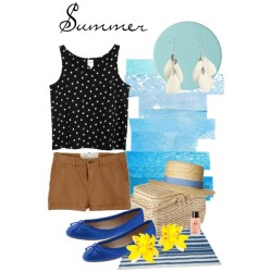 Summer by tinyvorehaha featuring ballerina flat shoesMonki cotton tank top, €10Aubin & Wills slimming shorts, £65Banana Republic ballerina flat shoes, $98H M chain jewelry, £2.99Yellow jewelry, £6.40Monki straw hat, €15Chantecaille eyeshadow, $22Chanel fragrance, £60Beach House Striped 6'x9' Cotton Dhurry, $25