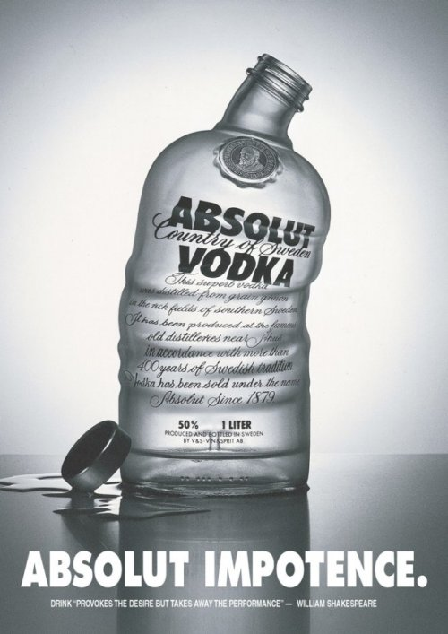 an altered advertisement from Adbusters Absolut Impotence others