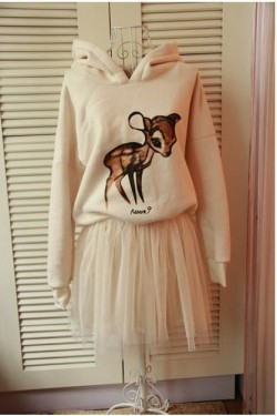 Hooded Sweater Chiffon Baby Deer DressSize: FreeLength - 85cmBust - 100-120cmShoulder - 38cmSleeve - 60cm$45
