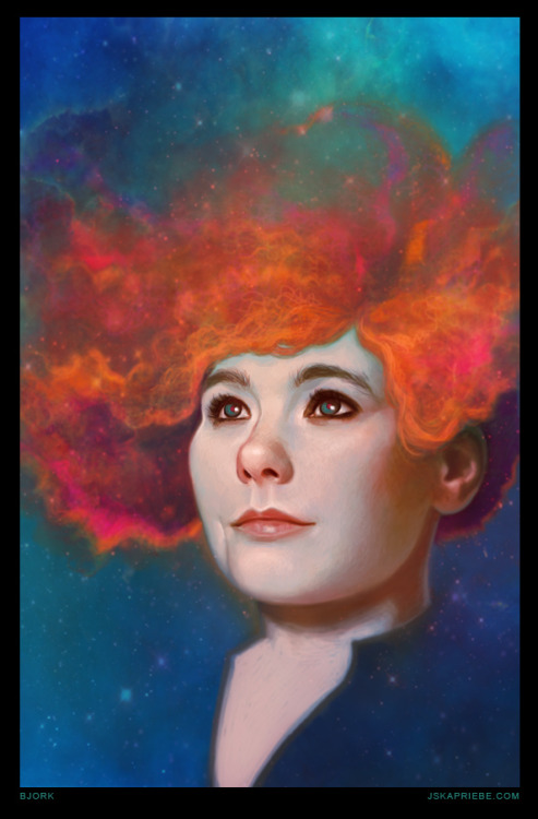 "Bjork! Inspired by the concept and album ""Biophilia"" Digitally painted in Adobe Photoshop Prints are available here!"