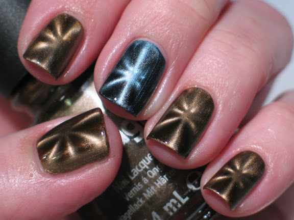 China Glaze Magnetic Nail Polish!  You Move Me, and Pull Me Close, done with the ChG magnet, of course!  I LOVE them!!!!!  XD