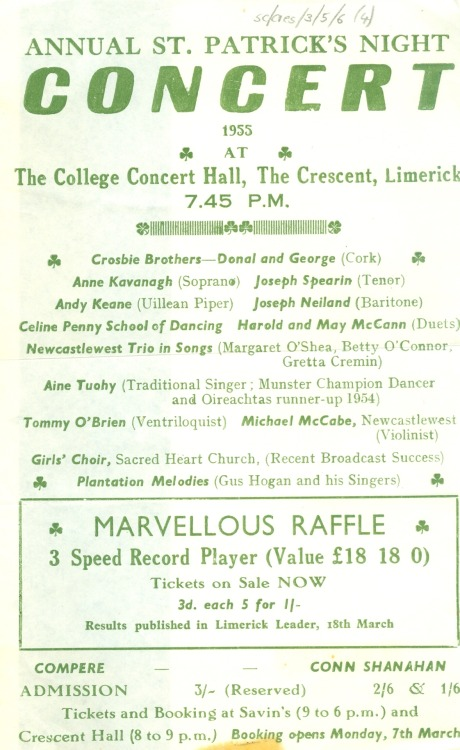 Advertisement for the annual St. Patrick's Night Concert, 1955 at the College Concert Hall, the Crescent, Limerick.