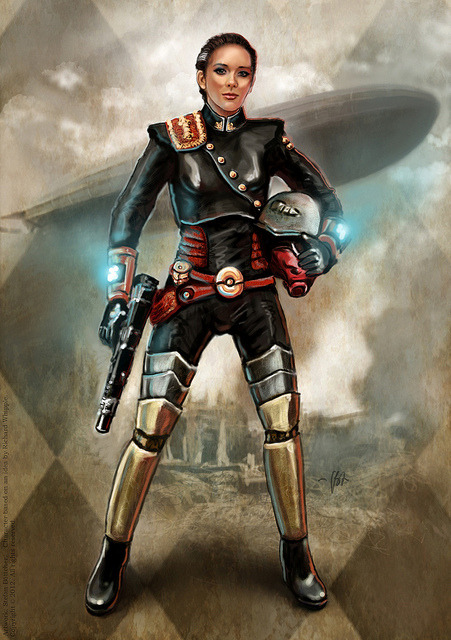 "Lady Grenadier by boettcherART on Flickr.Via Flickr: Digital ""Dieselpunk"" illustration. Figure based on a custom action figure by Ratfink customs. Background texture by CG Textures."