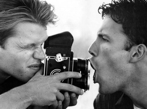 Matt Damon and Ben Affleck and a MF camera.<br />There's some doubt as to whether this is a Tele Rolleiflex or a Mamiya C-series TLR range. It's not a HB though as I first assumed - cheers for the corrections everyone!