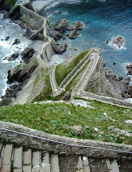 Beautiful stairs above the sea - Aketx, Basque County - Spain