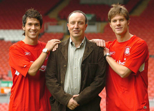 Luis Garcia,Rafael Benitez and Xabi Alonso.
