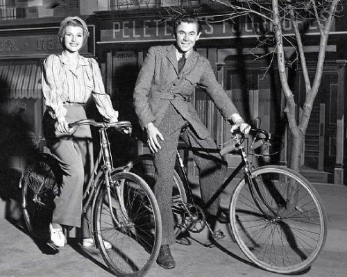 "ridesabike:  Rita Hayworth and Glenn Ford ride bikes. Look here in our archive for another image of Ford and Hayworth — the photo that launched ""Rides a Bike"" way-back-when!"