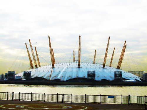 London's 02 Arena. Photoshopped image.