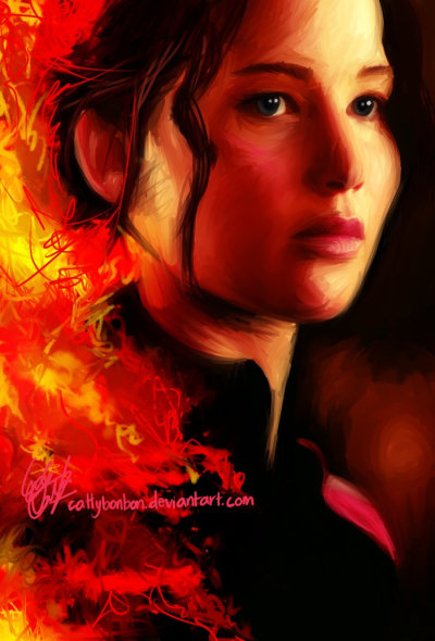 catvc:  The Girl On Fire by *cattybonbon because i havent drawn in ages and Mockingjay is the book im reading backstage during the show im working on atm ;)