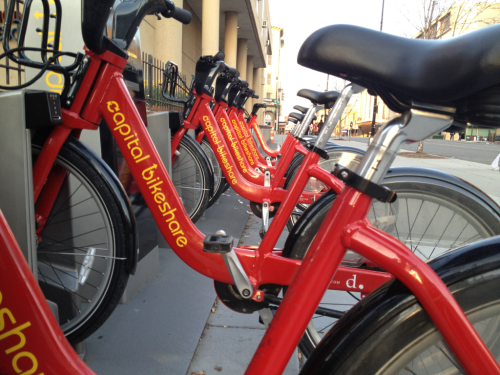 Thursday Morning Commute Tidbits:  Bikeshare ride #255, as I left my bike in the office garage last night before heading to happy hour and dinner. It's so awesome to have the option, and I'm guessing yesterday may have broken the single-day rides record…  I saw 39 other bicyclists on my ride in this morning, a definite uptick, even compared to earlier this week. 31 were wearing helmets, including the majority of those on CaBi's. seems like the reality is different from what's portrayed in the news, or that the reality is changing.   I took the 15th Street cycle track for part of my ride, and while it's nice to have protected lanes, that track really, really needs to be repaved.   I'm ready for the pollen to be done, but I fear that is weeks, if not months away.   Have I mentioned how excited I am that the best 36 hours in sports starts at noon today? Time to finish my brackets!