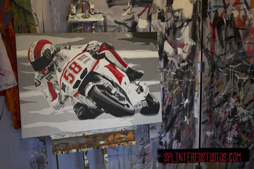 WORK IN PROGRESS - Marco Simoncelli ... still a lot to do but all the ground work done on him. http://www.splinteredstudios.com