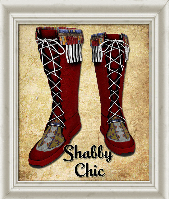 Shabby Chic Native Red Moccasin on Flickr.These moccasins are made of a light leather and have light leather laces woven through flaps on each side.  Native beading adorns the top and the front of the moccasins as well as fringes, to help during the rainy season.   These will be on sale in April - but right now - you can get them at my sim in the Twisted HuntFollow Shabby Chic on FacebookFollow it on FlickrFollow it on the Chicaholic BlogVisit the Christmas Market in GemellaVisit the Main Store in GemellaVisit the Texture store in Brauni