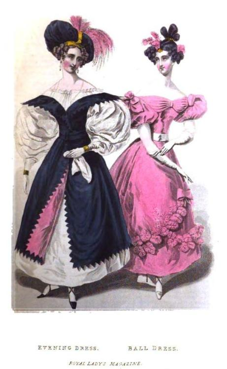 Royal Lady's Magazine, Evening and Ball Dresses, February 1831.  The overdress thingy on the evening dress is quite unusual!  I love the flash of pink in the lining!