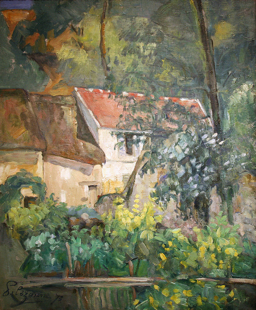 "veareflejos:  Paul Cézanne - House of Père Lacroix, 1873, oil on canvas To brighten Cézanne's dark palette knife, Pissarro told him ""Never paint except with the three primary colors… . "" The bright hues and quickly worked brushstrokes reveal here the effect of Pissarro's influence.  In 1873 Cézanne moved to the village of Auvers, where this was painted. It was near Pissarro's home, and the two of them often painted side by side during 1873 and 1874. Auvers was also home to Dr. Gachet, a collector who would later care for the despairing Van Gogh. Cézanne may have hoped Gachet would purchase his work, which was ignored by the public. Cézanne returned to Provence, and after inheriting his father's large estate in 1886, largely abandoned efforts to promote his work. He did not realize commercial success until he was in his fifties. SourceWith thanks to cliff1066™"