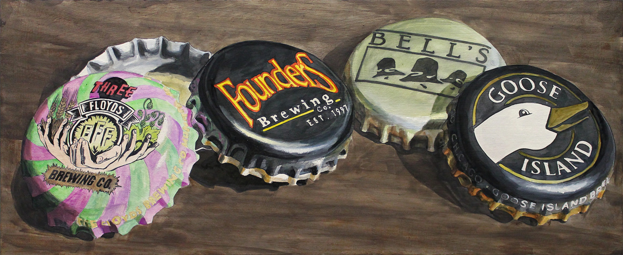 I drunkenly stumbled upon these amazing beer paintings and had to share them with you all. They'd make a classy addition to any bar or man cave.  Show your love for your favorite beers in a unique, elegant way. Commission an original painting of 1-4 caps from your favorite beers/breweries (or individual hop cones can substitute caps).  Visit the artists' Etsy page or official website for more details on how to order!