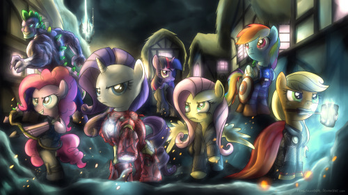 vindicar:  Bearers, assemble!  The Incredible Spike, Pinkie-Eye, Iron Pony, Canary Shy, AppleThor & Captain Equestria. Assembled by Twilight Fury, special agent of C.E.L.E.S.T.I.A., they are… MY LITTLE AVENGERS.
