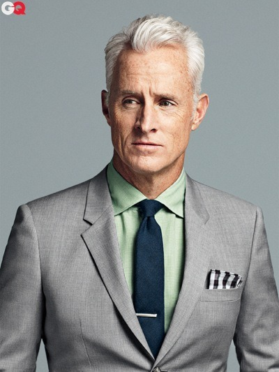 "gq:  On The Cover This Month: John Slattery Our second of three April 2012 cover subjects, for our special inaugural Style Bible issue. Click here to read GQ director of editorial projects Devin Friedman's profile of the Mad Men eminence grise. Below, a quick bit from the story:  ""I was going to get Old Rip Van Winkle,"" he tells the waitress. That's a kind of bourbon. ""But I'm told you're out of it. Anything resemble that?"" Something called Eagle Rare might be up his alley. It arrives, served with a beautiful hunk of ice that might be sold at an airport gift shop as a paperweight. He admires this ice cube. It's a great ice cube. That's also what he's like. A guy who knows about bourbons and good ice cubes. Which is the same, at this moment, as a guy who knows about a good waxed cotton jacket. (It turns out we're both wearing the same brand of waxed jacket. It's like we've been reading this magazine.)"