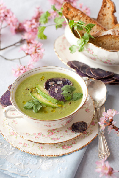 Perfect for Spring Vegetable Soup with Purple Potatoes Chips by Yelena Strokin on Flickr.yum