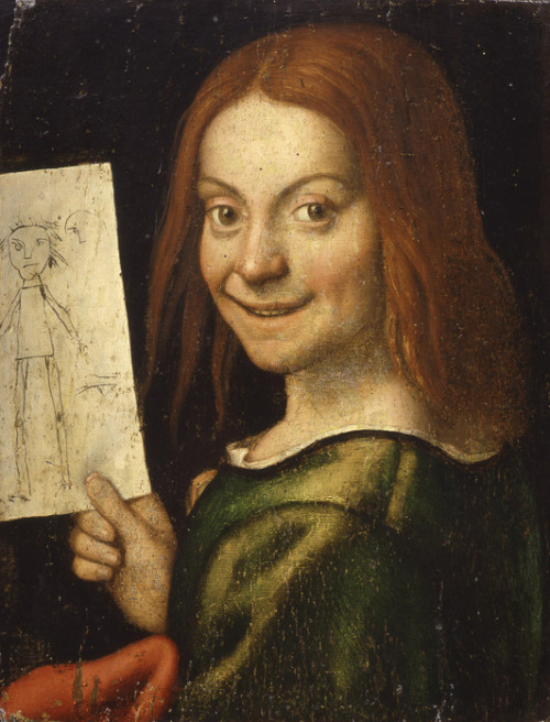 Giovanni Caroto, Portrait of a Boy Holding a Child's Drawing Oh. My. God. RECURSIVE UGLINESS. WE HAVE TO GO DEEPER.  BBBWWWWWWAAAAAAMMMMMMPPPPPPPP!
