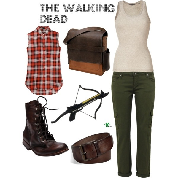 My creation inspired for a female by The Walking Dead characater Daryl Dixon played by Norman Reedus. **Daryl is a real manly man, so trying to come up with a set from a female perspective was a little challenging, especially since I wanted the set to come across as female while still maintaining the essence of the character.  I've included in this set green cargo pants, brown combat boots and belt, a leather cross body bag, beige tank top and a sleeveless plaid blouse.  Also to maintain the essence of the character I've included a crossbow. To purchase any of the items above, please click the link below: http://www.polyvore.com/walking_dead/set?id=45451856