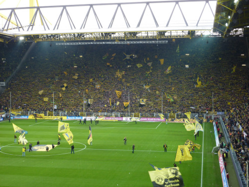 17. Signal Iduna Park (Westfalenstadion) Dortmund, Germany Built: 1974 - Capacity: 80,720 (65,718 all-seated) Home of Borussia Dortmund, and host venue of the 2006 FIFA World Cup, including one semifinal. The südtribüne (shown here) is the largest free-standing grandstand in Europe, with a standing capacity of 25,000. Photo by Flickr user fanthomas2.