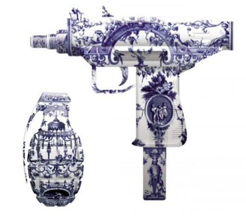 magnolius:  Weapons made of fine china designed by Magnus Gjoen, titledBeauty in Destruction