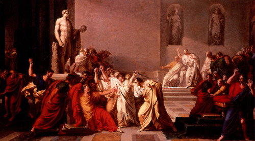 "janebrickley:  Beware the ides of March…(Painting — ""The Ides of March,"" by Vincenzo Camuccini, 1800)  Caesar: Who is it in the press that calls on me? I hear a tongue shriller than all the music Cry ""Caesar!"" Speak, Caesar is turn'd to hear. Soothsayer: Beware the ides of March. Caesar: What man is that? Brutus:A soothsayer bids you beware the ides of March. — The Tragedy of Julius Caesar: Act 1, scene 2"