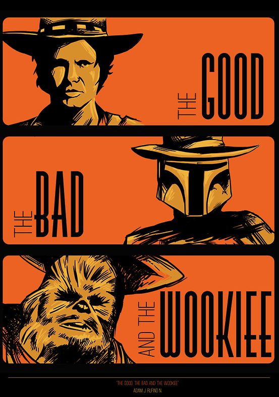 Now The good, the bad an the wookiee is now available as a poster, print, and cards. It's now your chance to decorate that empty space in your Wall at work or house :D http://www.redbubble.com/people/meleeninja/works/8604516-the-good-the-bad-and-the-wookiee-poster