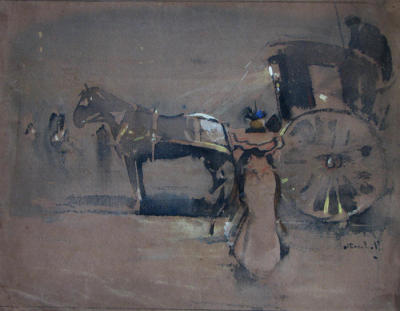 Joseph Crawhall, The Hansom Cab