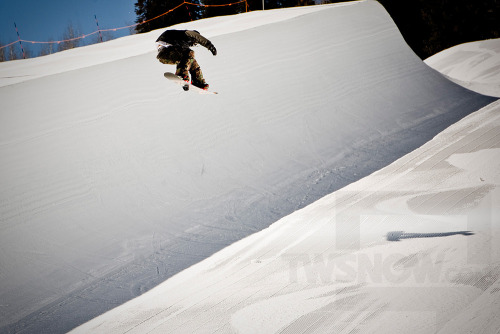 Mason Aguirre was doing cab 720's in the pipe that they made for X Games at Buttermilk. Photos by Darcy Bacha.