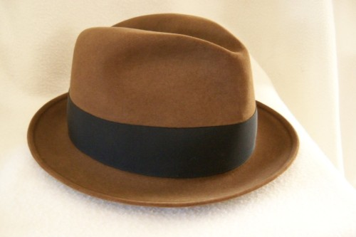 This fabulous fedora is brown.