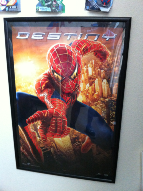 Grant picked this up for me at a goodwill. Spiderman 2 Destiny movie Poster. 24x36. Amazing poster. If you look into spideys eyes u see doctor octopus. Took down my aqua teen hunger force poster for this. Love it.