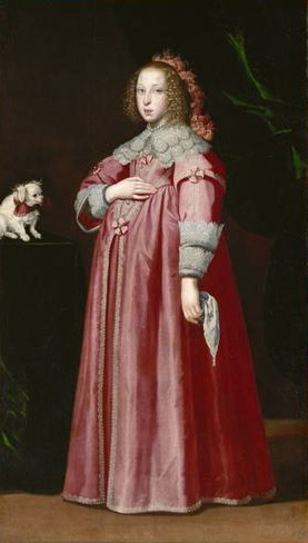 Maria Leopoldine of Austria, wife of the Holy Roman Emperor Ferdinand III, was painted by Lorenzo Lippi in 1649 while pregnant with what would be her only child. She died in childbirth the same year, at the age of seventeen. The sides of the bodice Maria Leopoldine's gown have been raised significantly from the styles of the time to allow space for her pregnant figure.