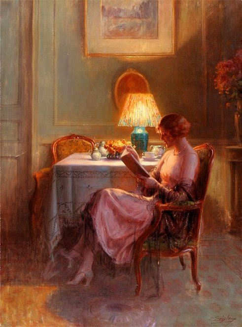 seabois:  Reading by the Lamp, Delphin Enjolras. French Academic Painter (1857 - 1945)